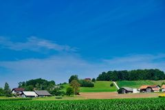 Terreno coltivabile fertile, Slovenia orientale fotografia stock libera da diritti