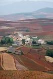 Terreno coltivabile rosso con il villaggio in dongchuan della porcellana Fotografia Stock