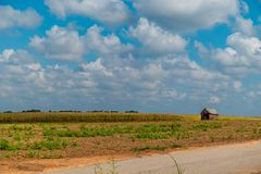 Terreno coltivabile rurale con la struttura dell'azienda agricola immagini stock