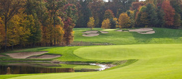 Terreno da golf in autunno Immagine Stock