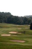 Terreno da golf nebbioso Fotografie Stock