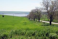 Terreno da vendere con il lago Fotografia Stock Libera da Diritti