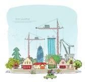 Terreno de construção e guindastes do wuth do fundo da cidade ilustração stock