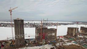 Terreno de construção, lapso de tempo da vista aérea video estoque