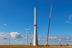 Terreno de construção da turbina eólica Fotografia de Stock