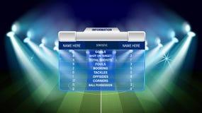 Terreno de juego del fútbol o del fútbol con de los elementos infographic Ilustración del vector libre illustration