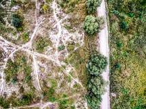 Terreno del campo con las pistas de la arboleda y del campo Fotografía de archivo libre de regalías