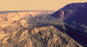 Terreno del canyon su Marte Fotografie Stock Libere da Diritti