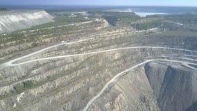 Terreno del cielo abierto de la mina del amianto de la visión aérea en el lago distante almacen de video