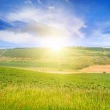 terreno, giacimento della molla ed alba su cielo blu Immagine Stock