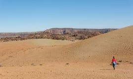 Terreno incolto d'escursione femminile sportivo del deserto attraverso il cratere vulcanico fotografie stock libere da diritti