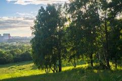 Terreno montanhoso pitoresco sem tocar na grande proximidade de áreas urbanas modernas fotografia de stock royalty free