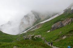 Terreno na montagem Shirouma nos cumes de Japão Fotografia de Stock