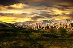 Terreno rocoso Cappadocia, Turquía Foto de archivo libre de regalías