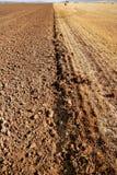 Terreno strutturato di agricoltura rossa dell'argilla Fotografia Stock