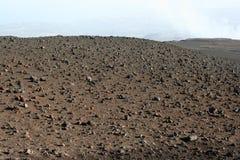 Terreno vulcanico sulla parte superiore della montagna dell'Etna Immagini Stock