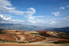 Terres cultivables colorées dans dongchuan de la porcelaine Images libres de droits