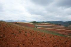Terres cultivables colorées dans dongchuan de la porcelaine Photos stock