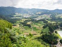 Terres cultivables et villages, sao Miguel, Açores, Portugal photo stock