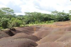 7 terres de couleurs de Chamarel, Îles Maurice Photo stock