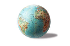 Terrestrial globe. On white background royalty free stock image