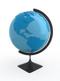 Terrestrial globe. Blue terrestrial globe on white background Stock Images
