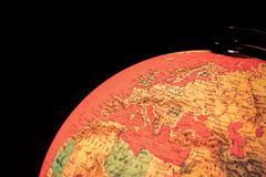 Terrestrial globe on black background Royalty Free Stock Images