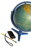 Terrestrial globe and cellular phone. On white background Stock Photography