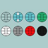 Terrestrial globe different colour flat icon. Terrestrial globe different colour flat icon set Royalty Free Stock Photos