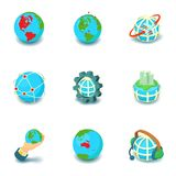 Terrestrial globe icons set, cartoon style. Terrestrial globe icons set. Cartoon set of 9 terrestrial globe vector icons for web isolated on white background Royalty Free Stock Image
