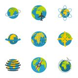 Terrestrial globe icons set, flat style. Terrestrial globe icons set. flat set of 9 terrestrial globe vector icons for web isolated on white background Stock Images