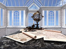 Terrestrial globe. Image of terrestrial globe and maps Stock Photo