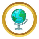 Terrestrial globe vector icon. In golden circle, cartoon style isolated on white background Royalty Free Stock Photos