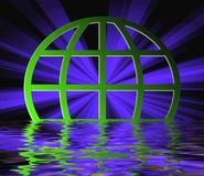 Terrestrial globe on water. Blue rays through terrestrial sphere globe illustration reflected on water Stock Photos