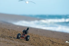 Terrestrial ground drone with camera while driving on the beach Stock Photography