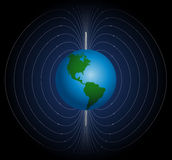 Terrestrial Magnetic Field. Around planet earth. Vector illustration on blue to black gradient background Royalty Free Stock Photos