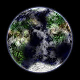 Terrestrial planet. A terrestrial planet with continents and oceans on black background Royalty Free Stock Image