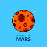 Terrestrial planet Mars vector illustration. Terrestrial planet Mars, Solar System object, line art vector illustration Stock Photos