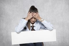 Terrible advertising, I am ashamed to advertise. Business women Royalty Free Stock Image