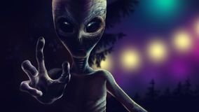 Terrible alien is reaching out to grab you. 2D art royalty free illustration