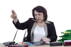 Terrible business woman at work desk Stock Photos