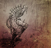 Terrible Cyberpunk Monster without Hands. Sketch of cyberpunk monster with metal and plastic in the body Stock Photography