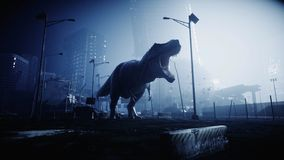 Terrible dinosaur trex in the night destroyed city. Apocalypse concept. 3d rendering. Terrible dinosaur trex in the night destroyed city. Apocalypse concept. 3d stock illustration