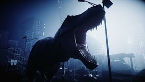 Terrible dinosaur trex in the night destroyed city. Apocalypse concept. Realistic 4K animation.