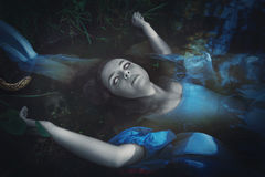 Terrible drowned dead ghost woman Royalty Free Stock Image