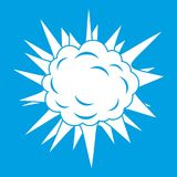 Terrible explosion icon white. On blue background vector illustration Stock Images
