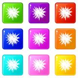 Terrible explosion icons 9 set. Terrible explosion icons of 9 color set isolated vector illustration Stock Photo