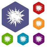 Terrible explosion icons set hexagon. Isolated vector illustration Royalty Free Stock Image