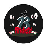 A terrible Friday 13 design. A cute terrible Friday 13 design Stock Photos