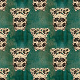 Terrible frightening seamless pattern with skull Stock Images